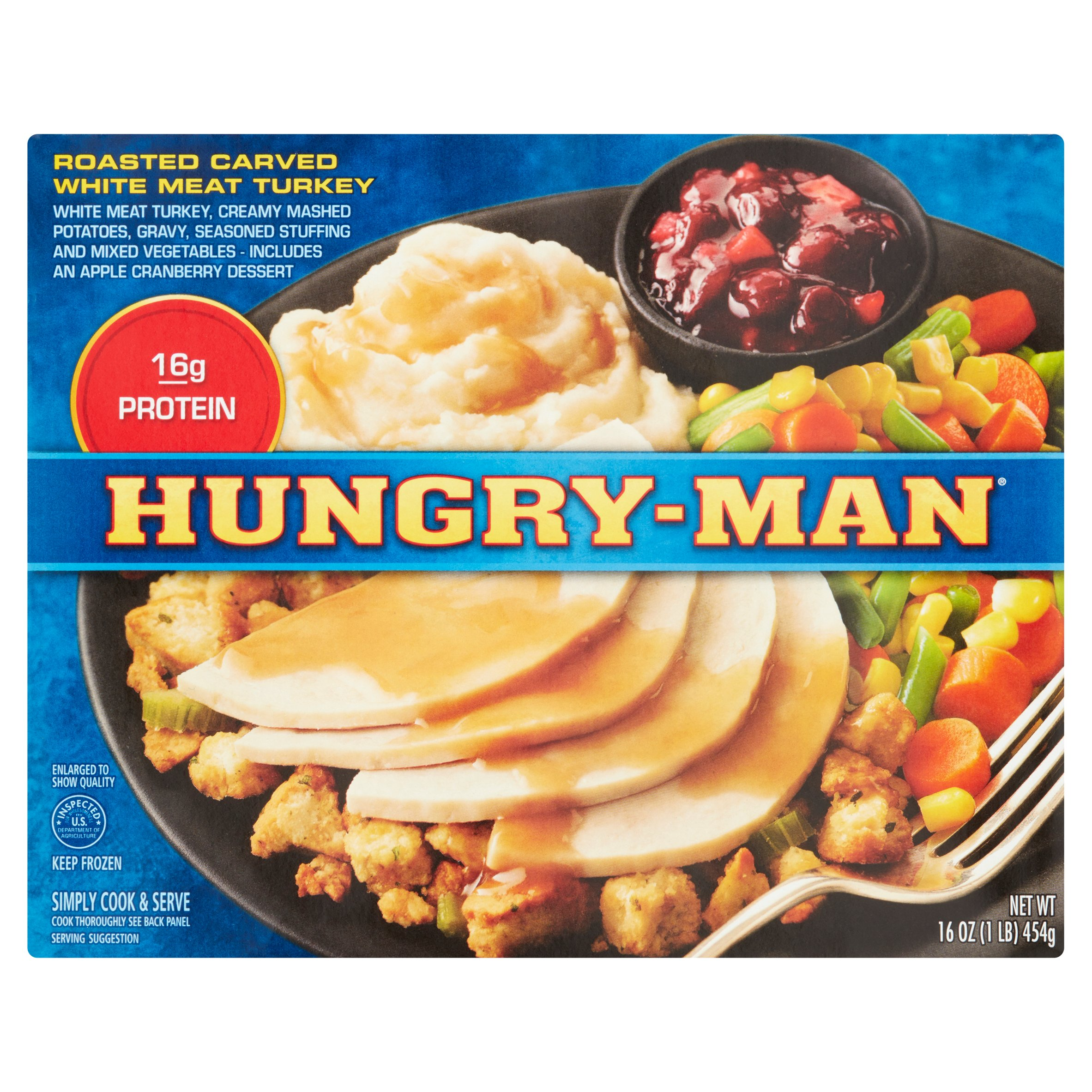 Hungry-Man® Roasted Carved White Meat Turkey Frozen Dinner 16 oz. Box