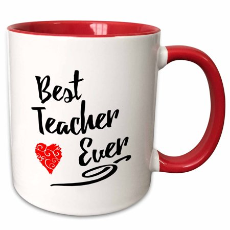 3dRose Typographic Design- Best Teacher Ever in Black with Red Swirly Heart - Two Tone Red Mug, (Best Teacher Bag Ever)