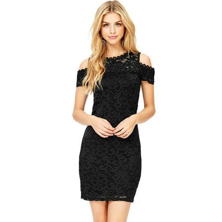 540ce88c8 Ambiance Apparel - Ambiance Apparel Women's Juniors Off Shoulder Little  Black Lace Dress (S, Black) - Walmart.com