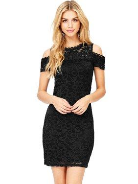 b528db21bd6494 Product Image Ambiance Apparel Women s Juniors Off Shoulder Little Black  Lace Dress (S
