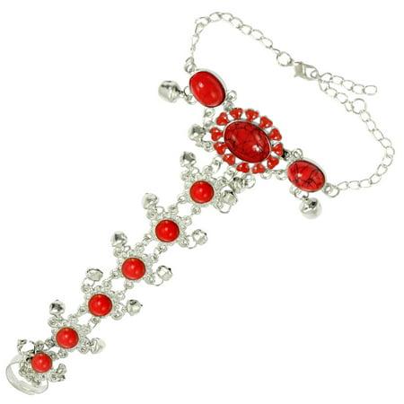 Unique Bargains Lady Red Beads Silver Tone Finger Ring Bells Chain Bracelet