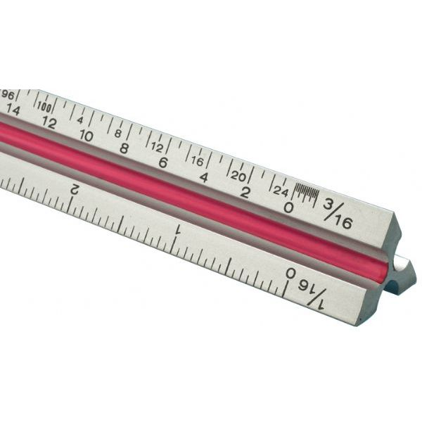 "(Price/EA)Fairgate TA36 36"" Solid Aluminum Architect Triangular Scale"