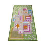 Kids Carpet Playmat Rug Play Time! Fun House Great for Playing with Dolls Mini People Figures Cars, Toys - Educational Play Safe & Have Fun - Children Play Mat,Play Game Area Includes 3D Rooms