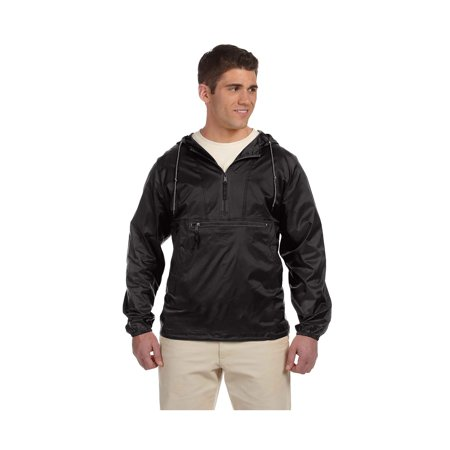 Harriton Mens Nylon Packable Pullover Hooded Jacket  Style M750