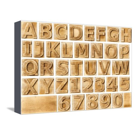 Wooden Alphabet Blocks With Letters And Numbers Stretched Canvas Print Wall Art By Donatas1205