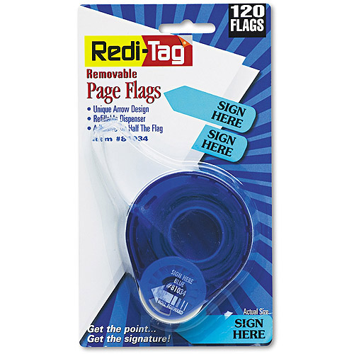 "Redi-Tag Arrow Message Page Flags in Dispenser, ""Sign Here"", Blue, 120 Flags"