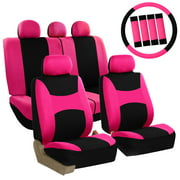 FH Group Light & Breezy Pink and Black Auto Accessories Set, with Steering Wheel Cover and Seat Belt Pads, Airbag Compatible and Split Bench Full Set Seat Covers