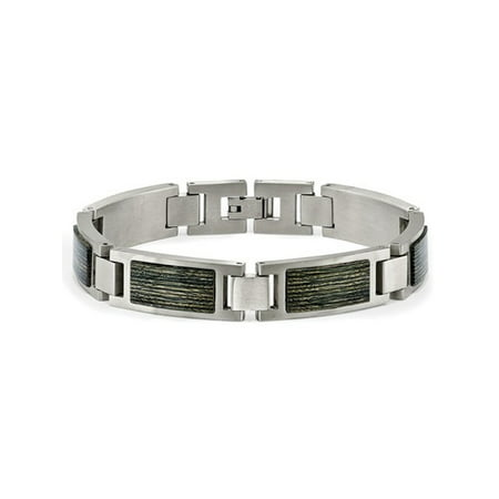 Mens Stainless Steel With Gray Wood Inlay Link Bracelet (8.75 Inch) - image 4 de 4