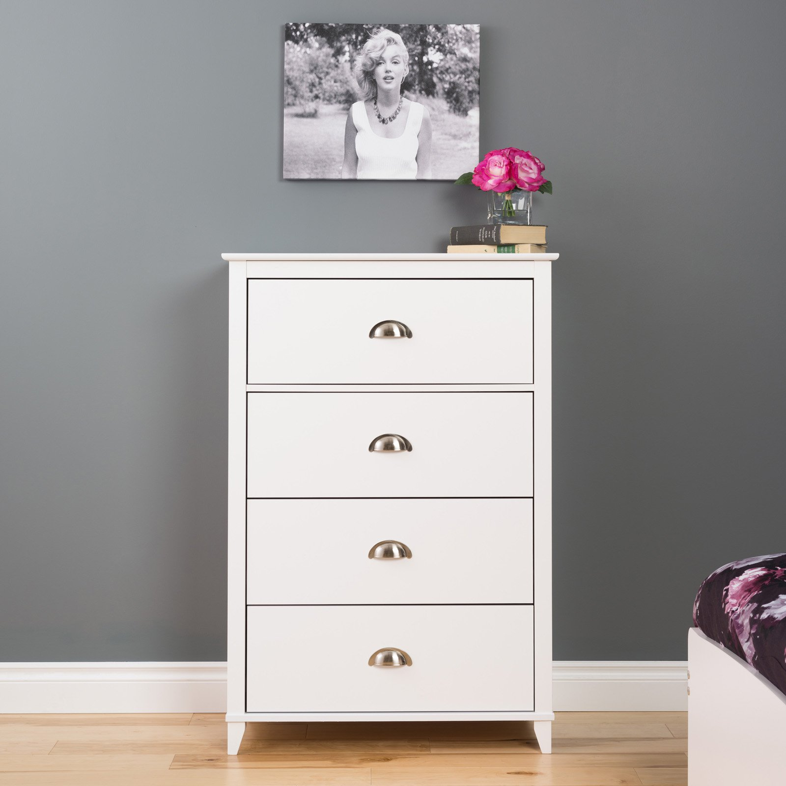 Prepac Yaletown 4-Drawer Chest, White