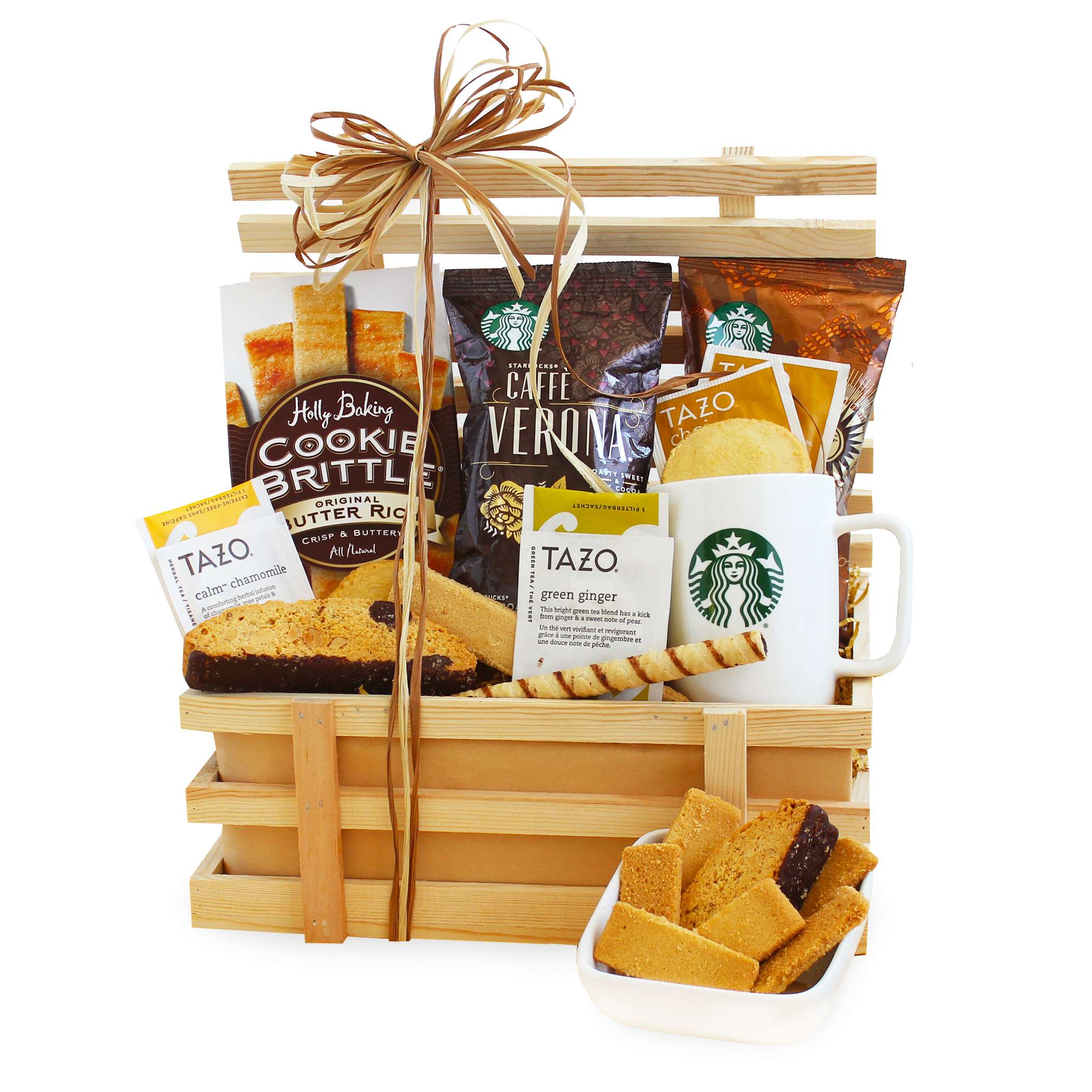 A California Delicious Country Coffee Crate Gift Basket with Single-serve Starbucks Coffee and Ceramic Mug for the Home