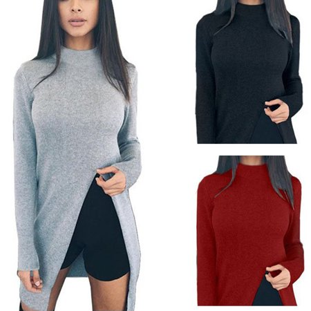 Casual Women Elegant Warm Side Slit Knit Sweater Long Turtleneck Polo Neck Pullover  Jumper Tops Shirt  Autumn Winter