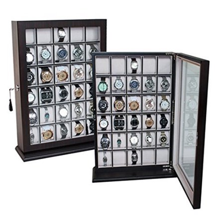 30 Piece Cherry Wood Watch Display Case Wall Stand Holds Watches up to 65