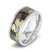 Stainless Steel Polished Brown Camouflage Ring (9mm)