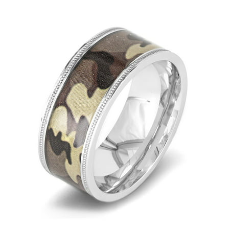 Stainless Steel Polished Brown Camouflage Ring (Cleveland Browns Ring)