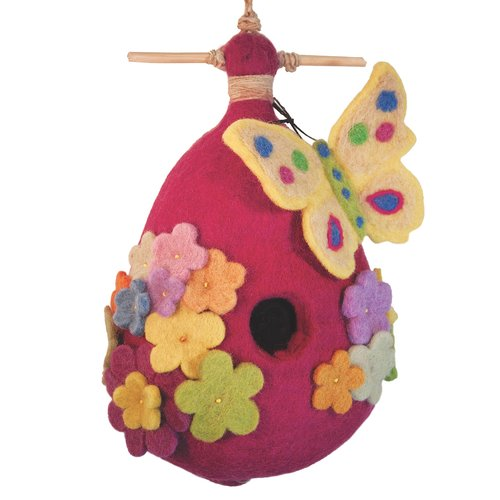 Global Crafts Butterfly Felt 9 in x 6.5 in x 3 in Birdhouse