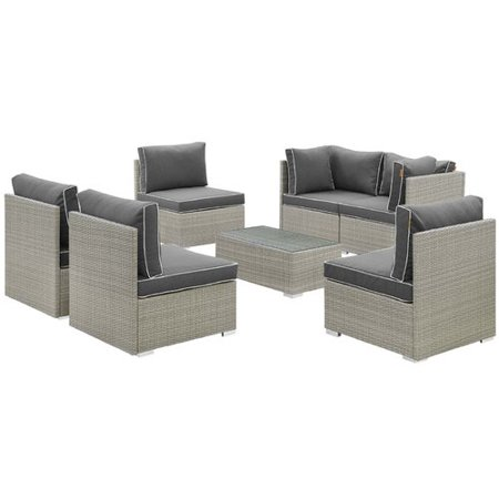 Highland Dunes Heinrich 7 Piece Rattan Sectional Set with Cushions