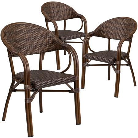 Lancaster Home 3 Pk. Milano Series Rattan Restaurant Patio Chair with Bamboo-Aluminum Frame ()