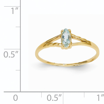 14k Yellow Gold Blue Aquamarine Birthstone Band Ring Size 7.00 March Marquise Fine Jewelry Gifts For Women For Her - image 1 de 2