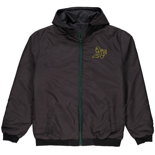 Men's JH Design Charcoal Oakland Athletics Reversible Colorblocked Fleece Hooded Jacket by