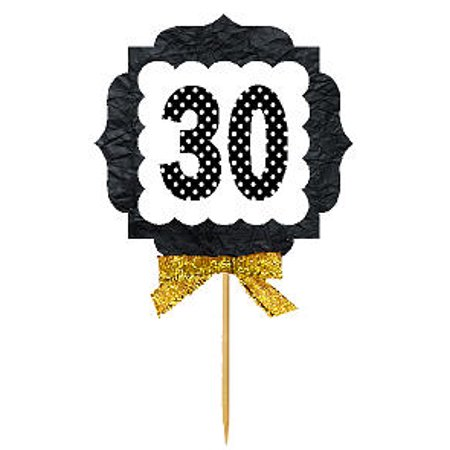 30th Birthday / Anniversary Gold Ribbon Hand Crafted Novelty Cupcake Decoration Toppers / Picks -12ct