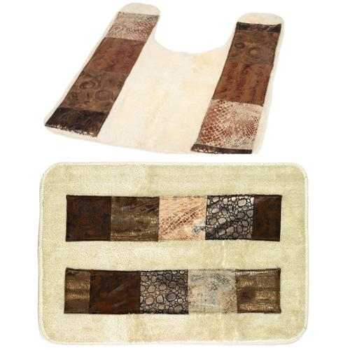 Animal Print Faux Leather Bath and Contour Rugs Contour Rug Only