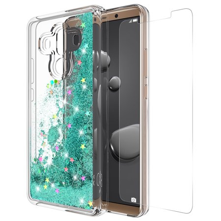 Huawei Mate 10 Pro Case With Tempered Glass Screen Protector, Rosebono Quicksand Glitter Sparkly Bling Liquid Shiny Luxury Clear Soft TPU Protective Cover for Huawei Mate 10 Pro (Teal)