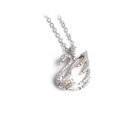 Swarovski Clear Crystal Swan Pendant Necklace with Mother of Pearl