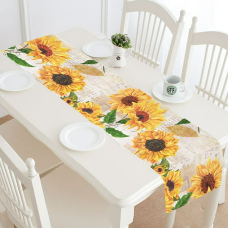 MKHERT Vintage Sunflowers on Postcards Newspaper Table Runner Home Decor for Kitchen Dining Wedding Party 16x72 Inch