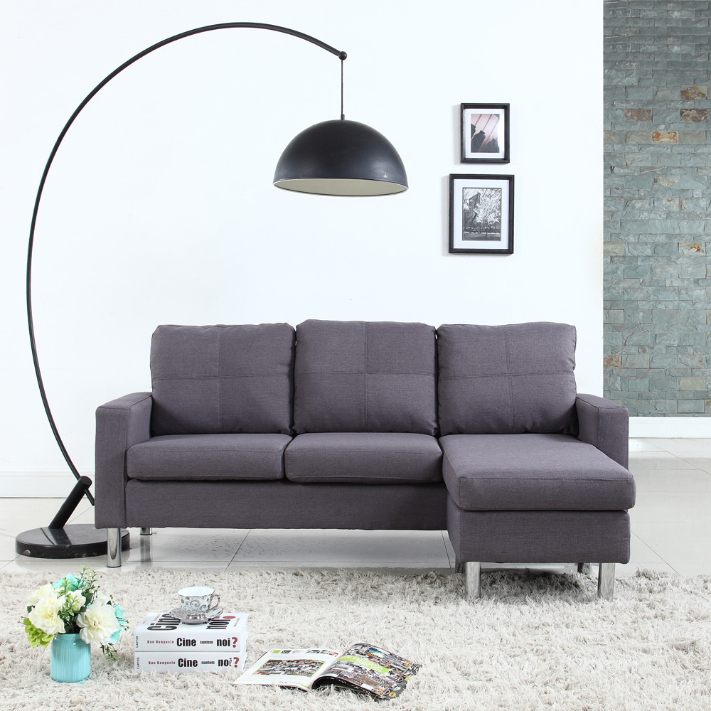 Modern Small Space Configurable Couch In Bonded Leather