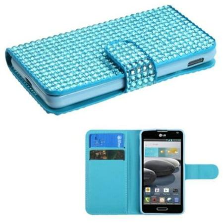 Insten Light Blue Diamonds Crystal Bling Book-Style MyJacket Card Wallet Case For LG Optimus F6 - Blue Diamond Bling