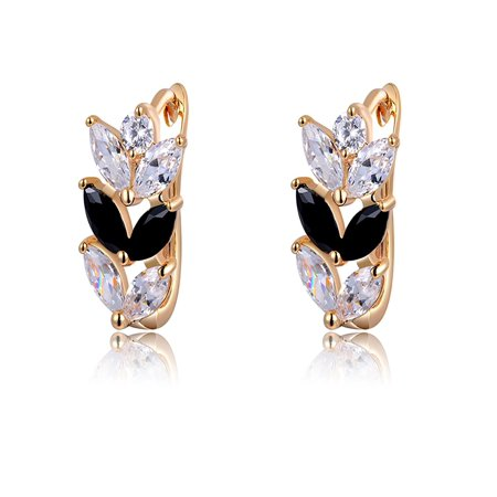 - Leaf Shape Black Clear Marquise CZ Rose Gold Plated Drop Earrings Ginger Lyne Collection