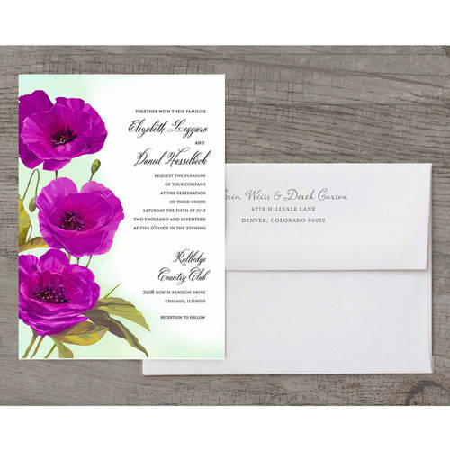 Red Poppies Deluxe Wedding Invitation