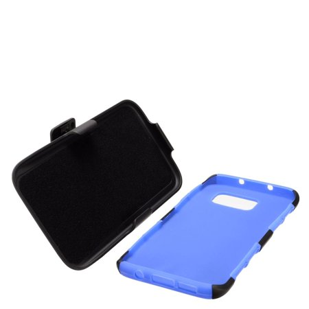 Insten Stand Dual Layer Hybrid Case with Holster For Samsung Galaxy S7 Edge - Black/Blue - image 1 de 4