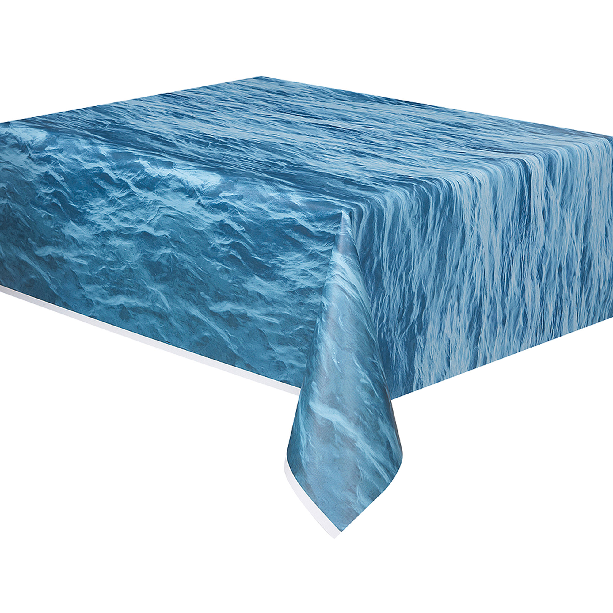 "Plastic Ocean Waves Printed Table Cover, 108"" x 54"""