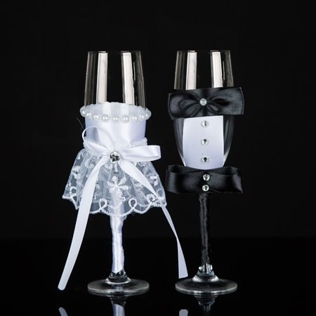 Crystal Wedding Champagne Glasses Mr And Mrs Toasting Flutes Bride And Groom Toast Glasses - Wedding Gift Idea - Different Wedding Ideas