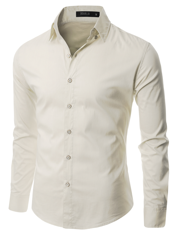 Doublju Mens Basic Long Sleeve Collared Dress Shirt