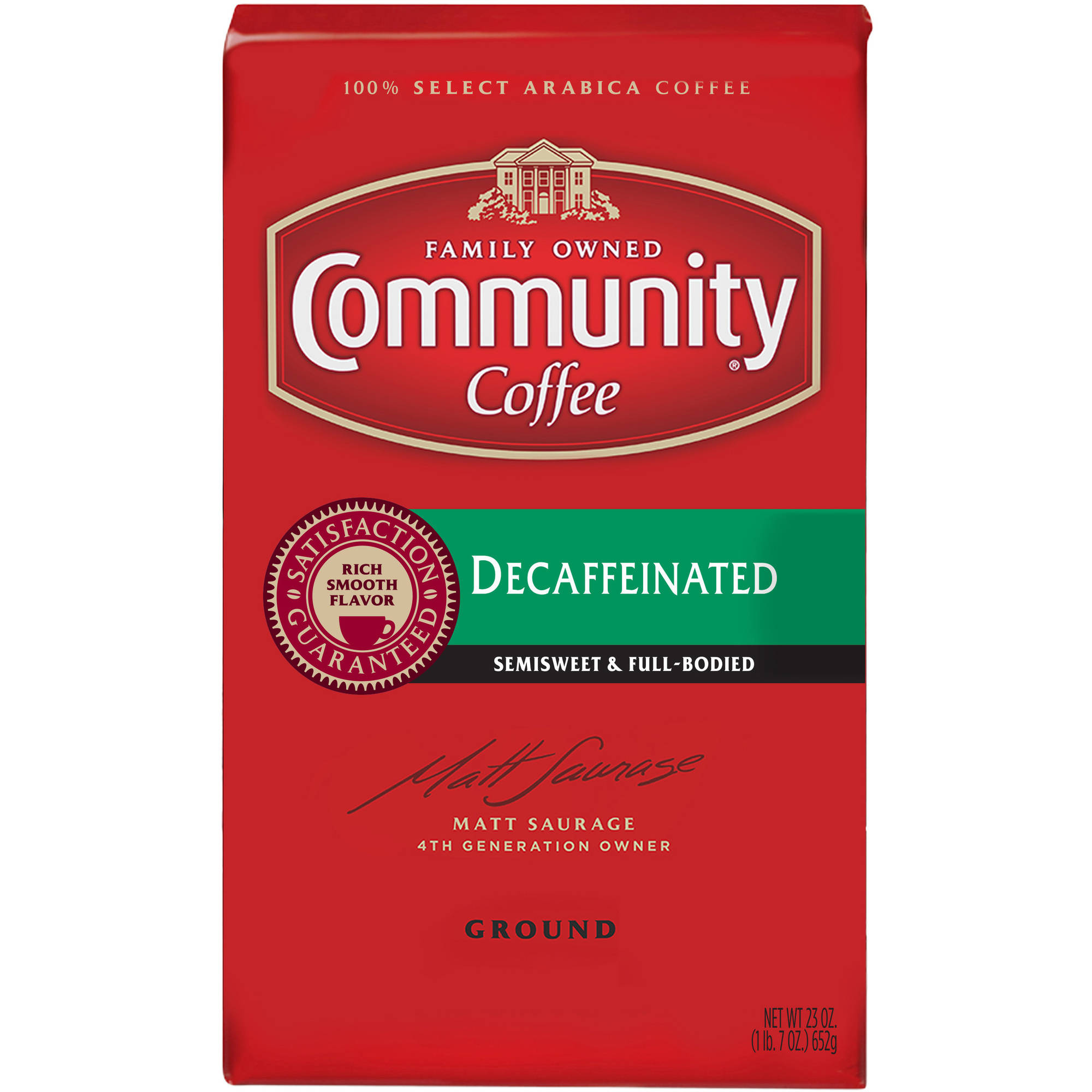 Community Coffee Premium Ground Decaffeinated Medium-Dark Roast Coffee, 23 Ounce
