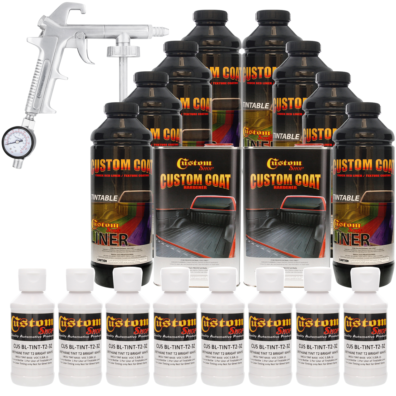 Bed Liner CUSTOM COAT BRIGHT WHITE 8-L Urethane Spray-On Truck Kit w/ Spray Gun