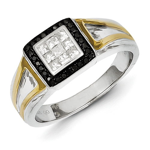 sterling silver and gold plated black and white