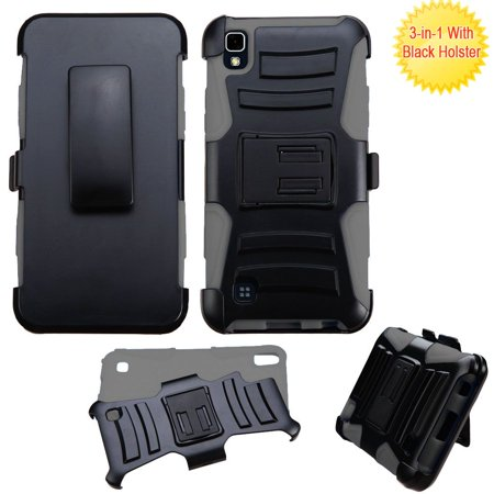 Advanced Armor Hybrid Kickstand Case with Holster for LG K6 / X Power - Black Grey - Fallout Power Armor For Sale