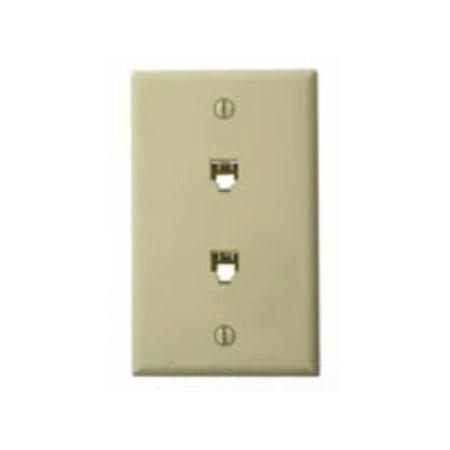 Leviton 40244-I Standard Telephone Wall Jack, Ivory