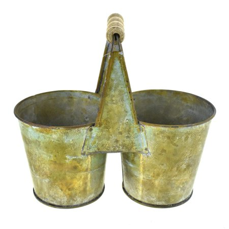 Galvanized Metal Double Pot Planter with Handle, 7-1/2-Inch (Double Planter)