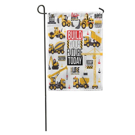 SIDONKU Range of Construction Machinery Positive Motivation Slogan for Children Garden Flag Decorative Flag House Banner 12x18 inch ()