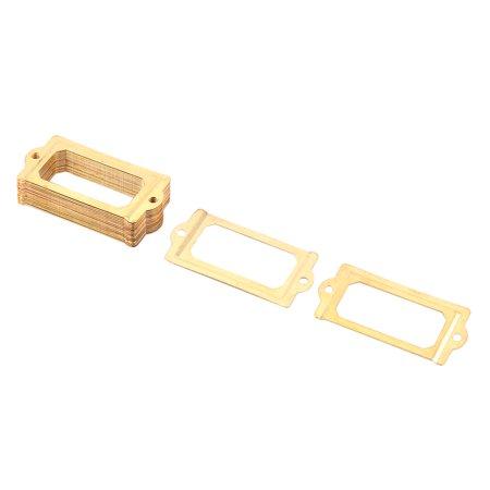 Post Office File Drawer Card Holder Tag Label Frame Gold Tone 70 X 33Mm 20Pcs