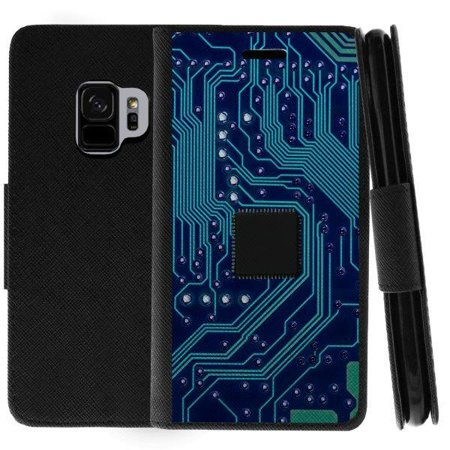 TurtleArmor ® | For Samsung Galaxy S9 G960 [Wallet Case] Leather Cover with Flip Kickstand and Card Slots - Phone Circuit Board