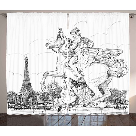 Antique Curtains 2 Panels Set, European Cityscape France Historical Sculpture Rearing Horse Eiffel Tower Print, Window Drapes for Living Room Bedroom, 108W X 108L Inches, Black White, by - Cigar Tower Antique