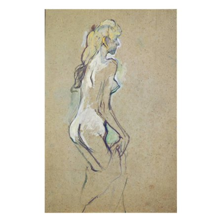 Nude Girl, 1893 (Oil on Card) Print Wall Art By Henri de Toulouse-Lautrec