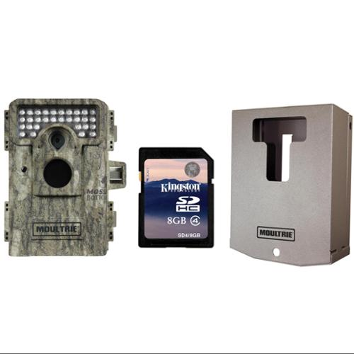 MOULTRIE A-8 Low Glow Infrared 8 MP Trail Game Camera + Security Box & SD Card