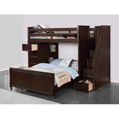 Harriet Bee Forest Twin Over Full L Shaped Bunk Bed With Bookcase
