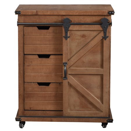 Presley Three-Drawer with Door Side Cabinet - Natural - Hand Painted Side Cabinet